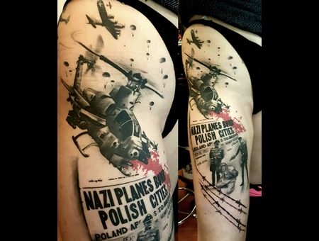 War Tattoo Black Grey Thigh