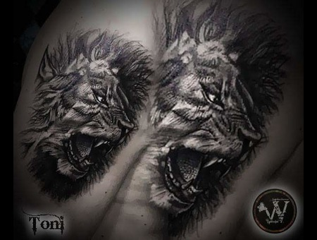 Black And Gray Lion Tattoo Black Grey Shoulder