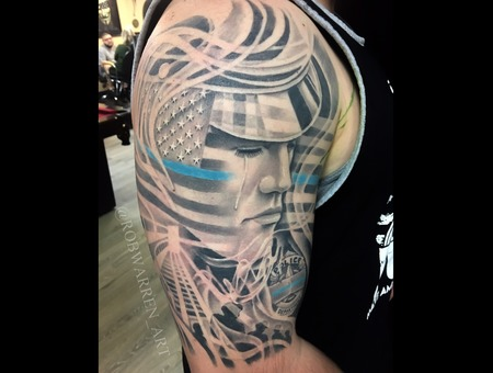 Memorial  Black And Gray  Portrait  Tribute  Patriotic  Police  Half Sleeve Black Grey Arm