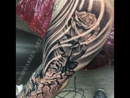 Photo Realistic  Rose  Flower  Floral  Black And Gray  Realism  Realistic   Black Grey Arm