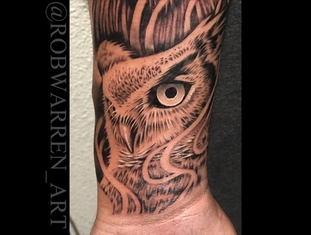 Owl  Animal  Realistic  Realism  Animal  Portrait  Black And Grey  Black  Arm