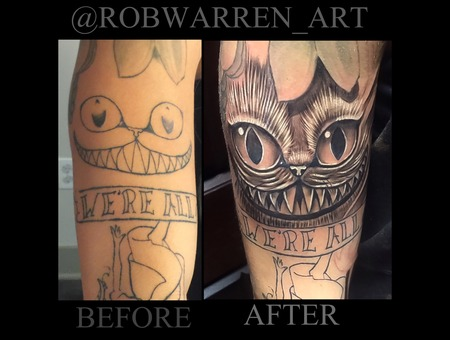 Coverup  Fix Up  Before And After  Black And Gray   Cheshire Cat  Alice   Black Grey Arm
