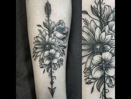 Flowers  Blackwork  Dotwork Black Grey Arm