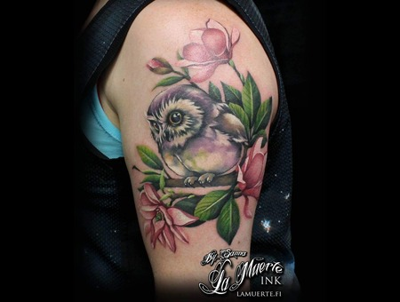 Owl Tattoo  Flower Tattoo Color Shoulder