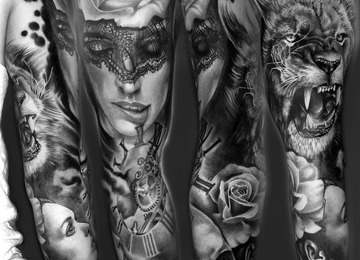 Rose, lion, portrait, clock, skull, custom, sleeve