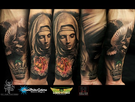 Mother Mary   Realistic Rose   Dove Black Grey Forearm