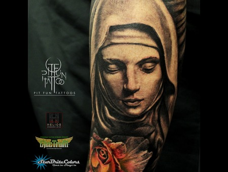 Mother Mary   Realistic Rose  Black Grey Forearm
