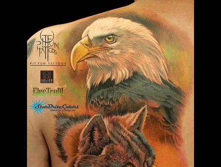 Realistic Eagle Color Portrait Color Back