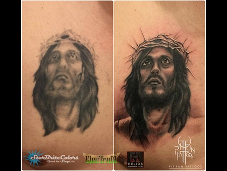 Touch Up   Jesus Portrait   Fix Black Grey Arm