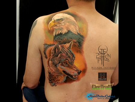 Realistic Eagle   Realistic Wolf  Color Back