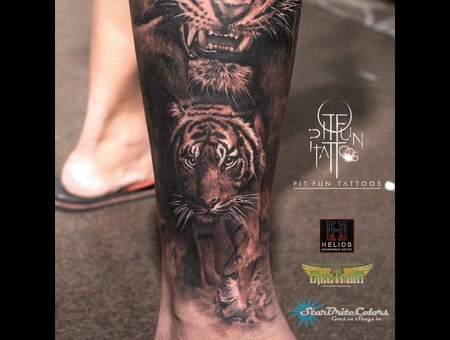 Realistic Tiger Black Grey Lower Leg