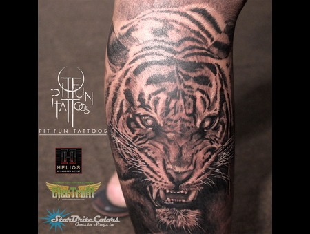 Realistic Tiger Portrait Black Grey Lower Leg