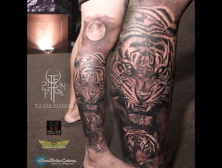Realistic Tiger Sleeve  Black Grey Lower Leg