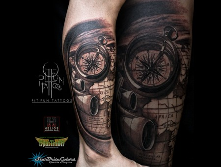 Travel Tattoo   Map   Compass Black Grey Lower Leg