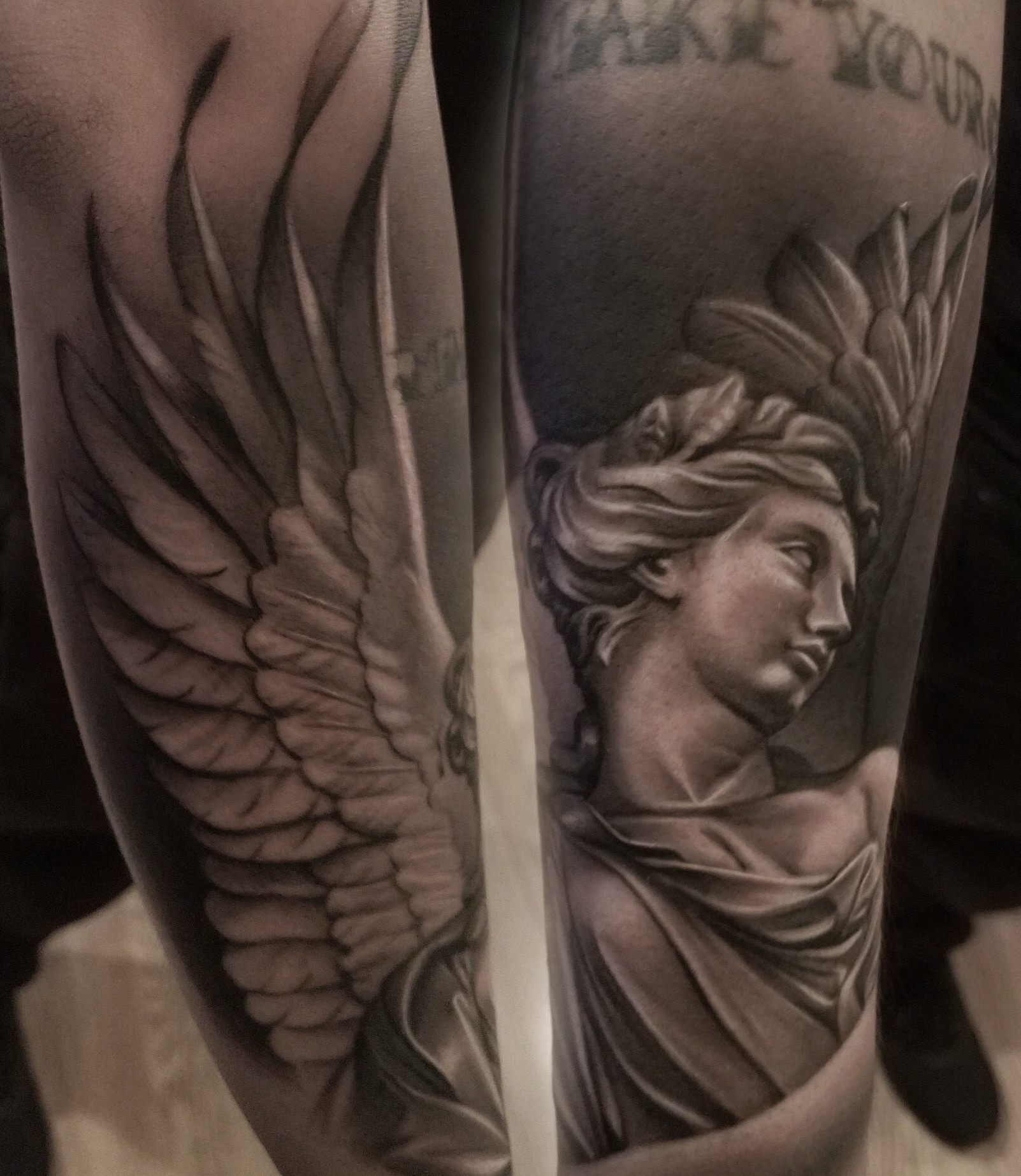 20ea3d8f9 Black And Grey Realistic Statue Angel Sleeve Black Grey Forearm