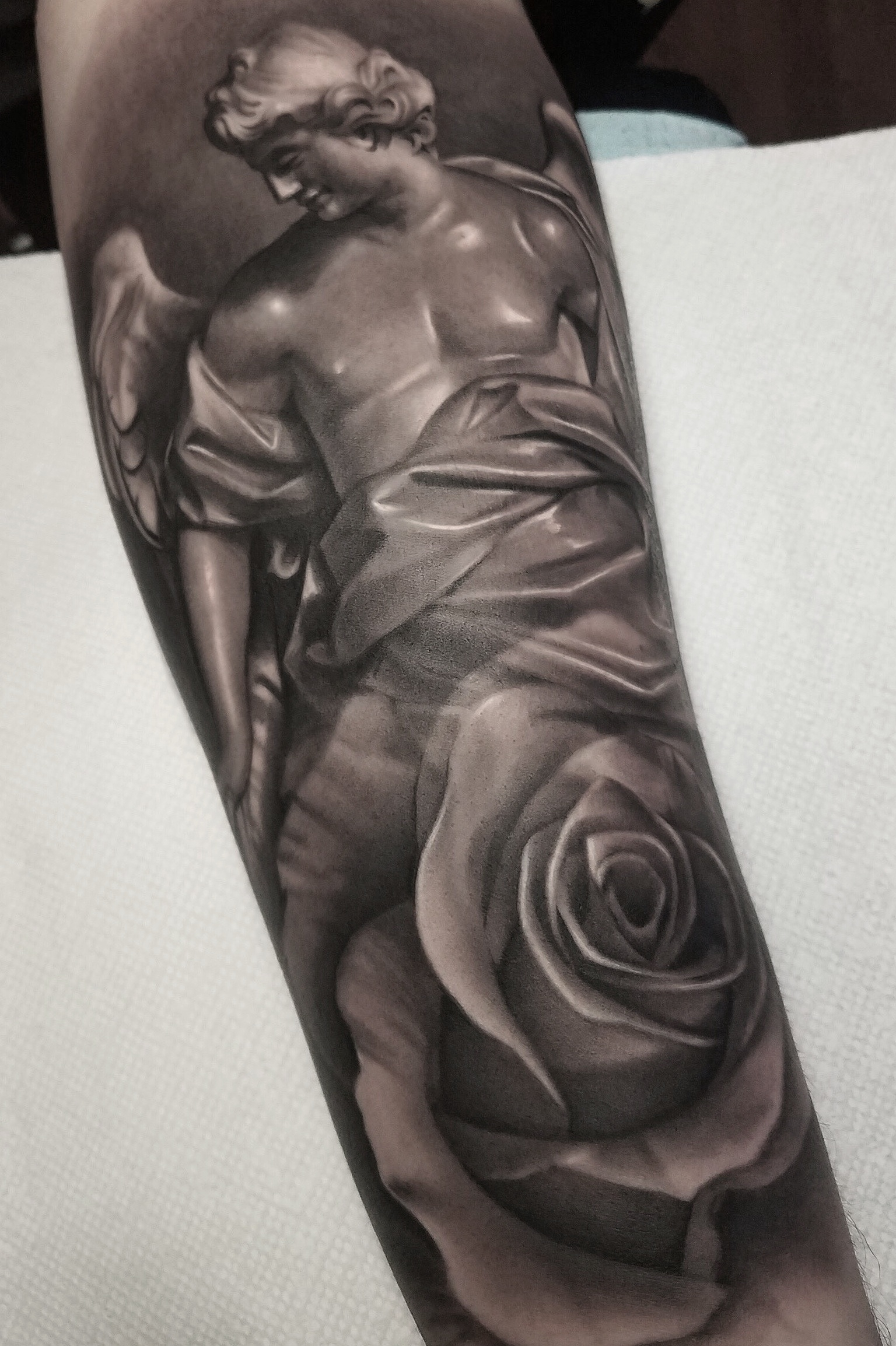 69a328d10 Black And Grey Realistic Statue Realism Sleeve Rose Angel Religious Black  Grey Forearm