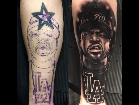 Icecube  Rapper  Portrait  Losangeles  Coverup  Cover Up  Realistic Black Grey Forearm