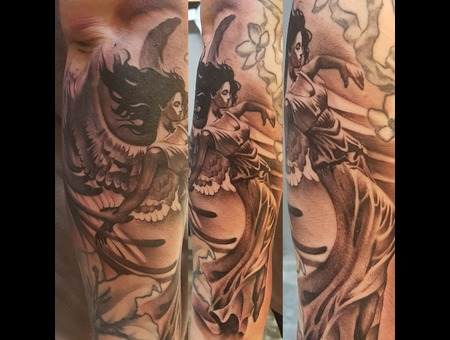 Angel Tattoo Black Grey Arm