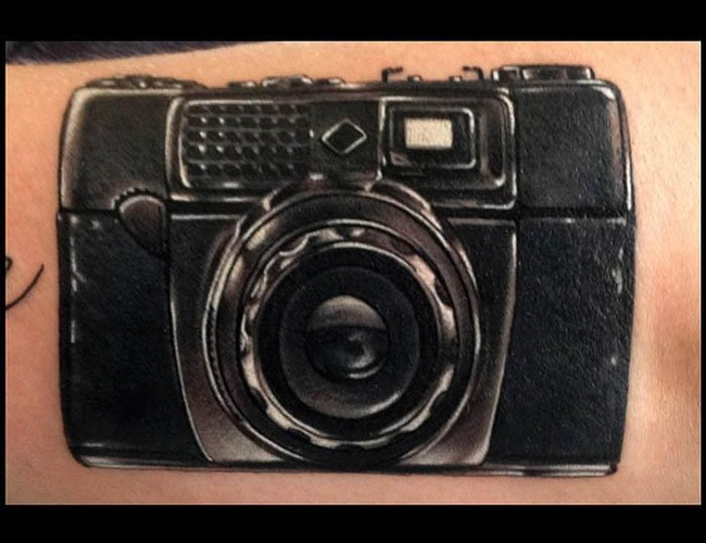 Realistic Tattoo  Photo Camera Tattoo Black White