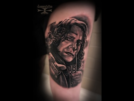 Harry Potter Professor Snape Jammes Tattoo Black Grey Thigh