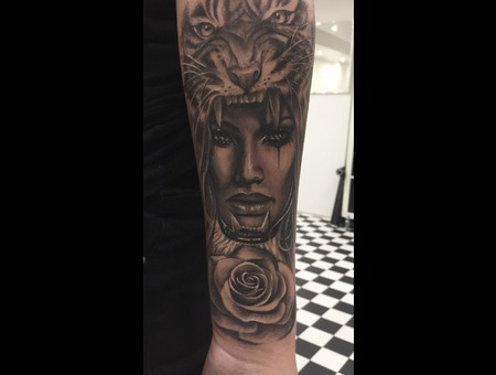 Tiger  Rose  Girl Black Grey Forearm