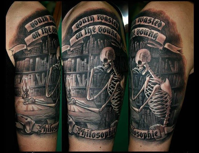 Skeleton Tattoo  Black White