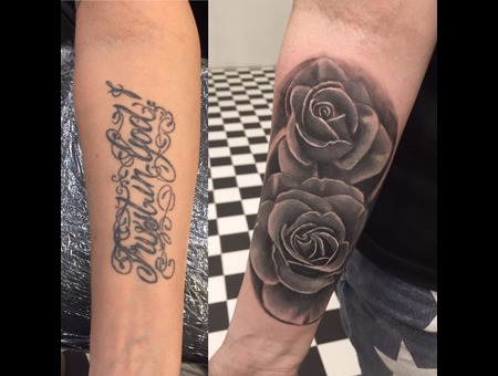 Opaque  Coverup  Roses Black Grey Forearm