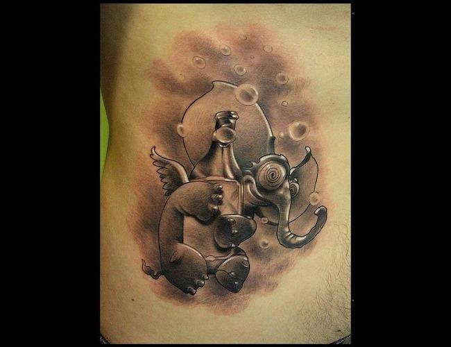 Elephant Tattoo Stomach Tattoo Crazy Tattoo  Black White
