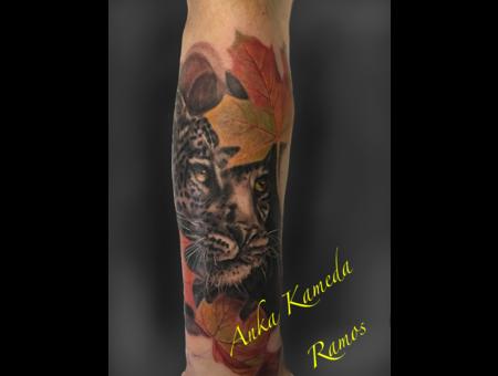 Leopard Tattoo  Animal Tattoo   Arm Tattoo  Color Arm