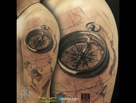 Compass   Map  Black Grey Arm