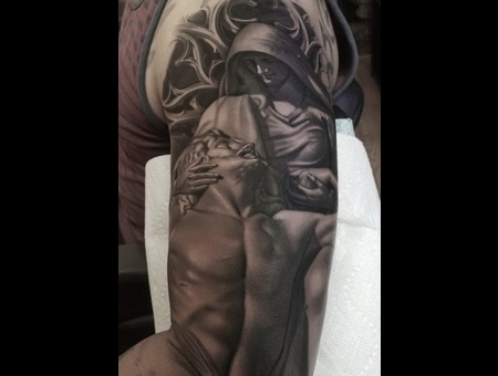 Black And Grey  Realistic  Statue  Religious  Jesus  Mary Black Grey Arm