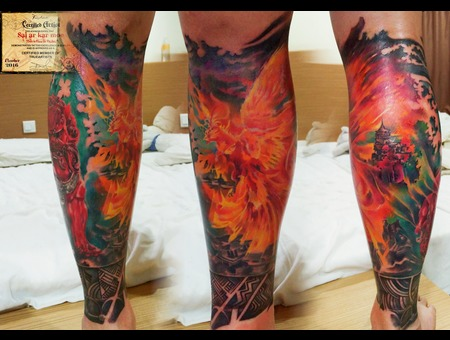 Phoenix  Colours  Realistic  Morden Art  Fire Bird  Details Color Lower Leg