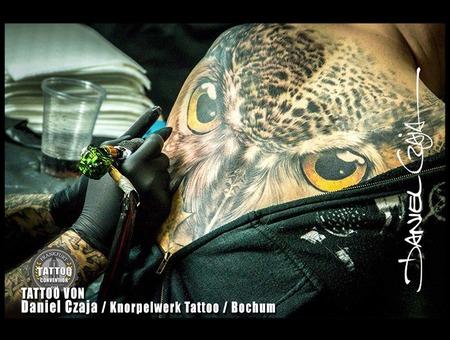 Owl  Backpiecej  Feathers  Bird  Realistic  Colour Tattoo  Birdface   Color Back
