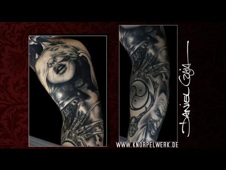 Realistic  Black&Gray  Arm Tattoo  Fog  Structures   Collage  Artwork Black Grey Arm
