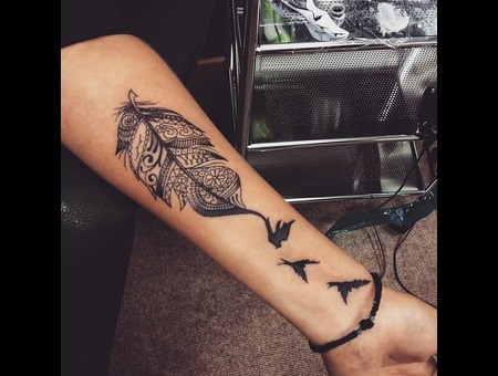Feather Liner. #Inkandarttattoo Ink & Art Tattoo Shop Black Grey Arm