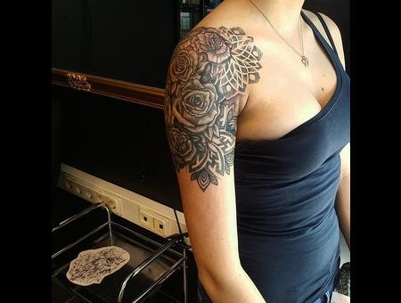 Rose  Dot Work. #Inkandarttattoo Ink & Art Tattoo Shop Black Grey Shoulder