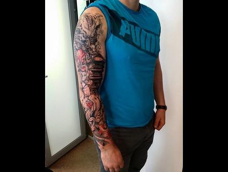 Dragon Sleeve Tattoo Design. #Inkandarttattoo Color Arm
