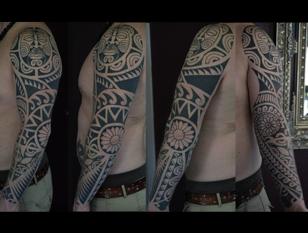 Marquesian Plynesian Tribal Free Hand Black Grey Arm
