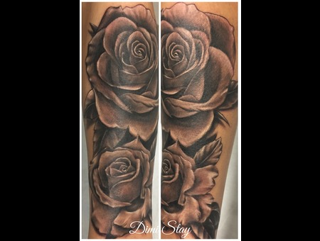 Rose Black N Grey Black Grey Forearm