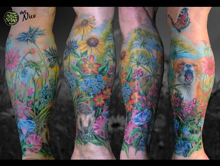 Missnico Fox Nature Flowers Morningglory Butterfly Colortattoo Realistictat Color Lower Leg