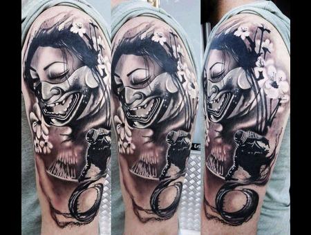 Geisha   Custom   Japanese  Warrior Black Grey Arm