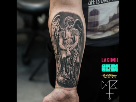 Angel Statue Black Grey Forearm