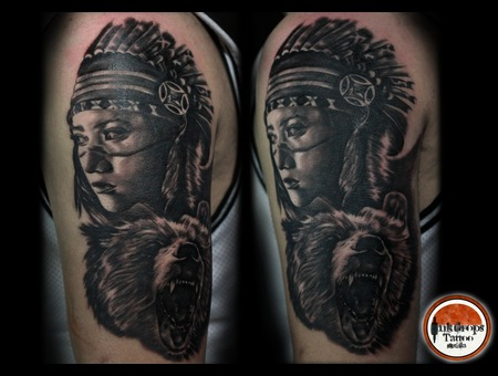 Native  Bear  Black Grey Arm