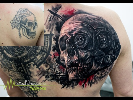 Skull  Human Skull  Steampunk  Realistic  Trash  Coverup Black Grey Shoulder
