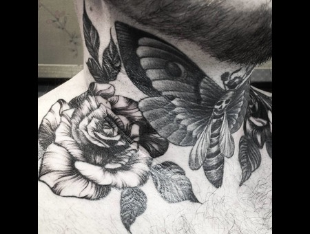 Neck  Moth Tattoo  Rose Tattoo  Black Grey Neck