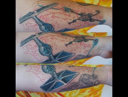 Star Wars  X Wing  Tie Fighter  Sleeve In Progress  Fine Lines  Detail Color Forearm