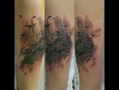 Crow  Sleeve In Progress  Detail  Fine Line Black Grey Arm