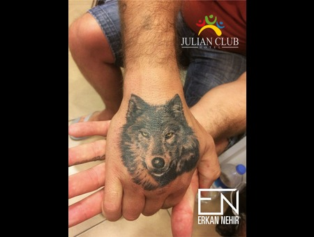 Tattoo  Wolf  Animal  Realism  Hand  Erkan  Nehir  Marmaris Black Grey Arm