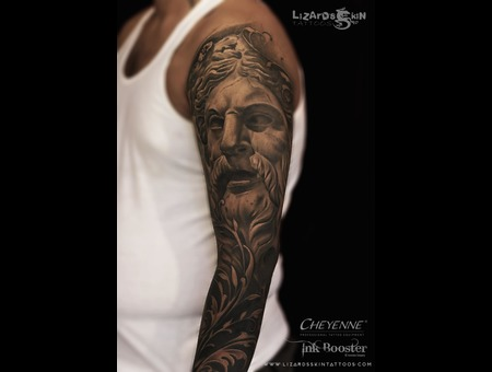 Zeus Sleeve Tattoo Black Grey Arm