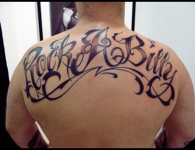 Lettering. Rock A Billy  Black White